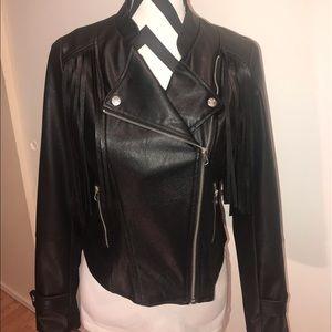 NWOT Miss London Moto Fringe Jacket Size S